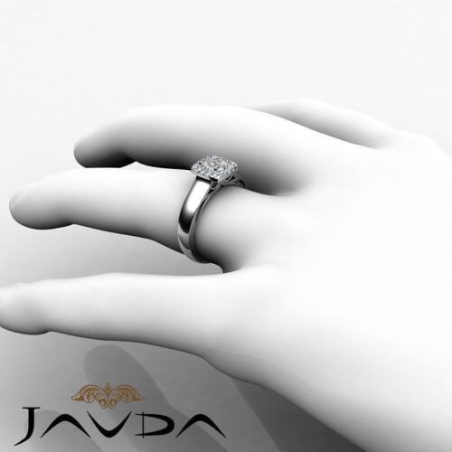 Filigree Shank Halo French Pave Round Diamond Engagement Ring GIA D VVS1 0.70Ct 3