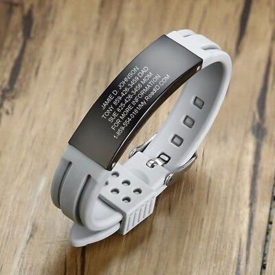 Personalized Custom Men Bracelet Silicone Armband ID Name Text Free -