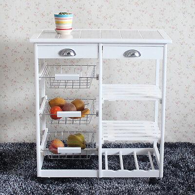 Kitchen Island Cart Butcher Block Rolling Cupboard Cabinet Table Storage Buffet