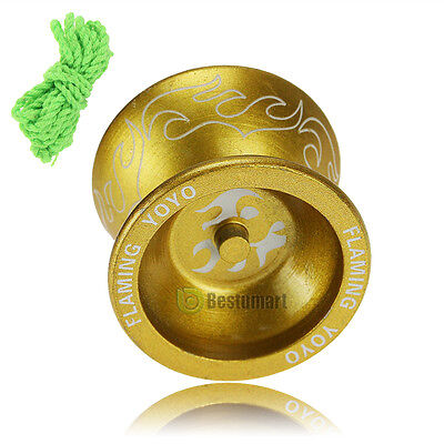 Gift Aluminum Design Professional YoYo Ball Bearing String Trick Alloy Kids Gold
