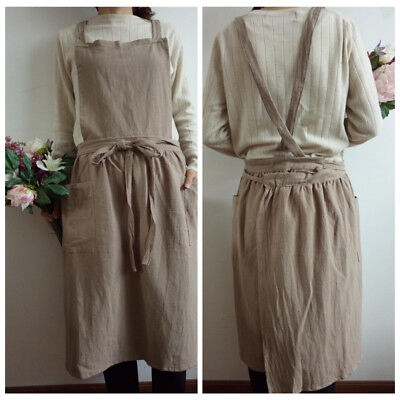 Vintage Women Linen Cotton With Pocket Long Apron Pinafore Dress Casual Workwear