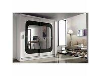 High Quality *** German Chelsia Full Mirror 2 Door Sliding Wardrobe w/ Shelves, Hanging