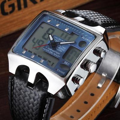 OHSEN Herren Armbanduhr XXL Militär LED Uhr Sportuhr Blau Neu