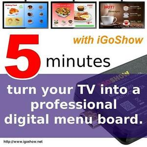 Turn any TV into a digital menu board signage for restaurant fast food coffee shop w/ iGoShow broadcast display system