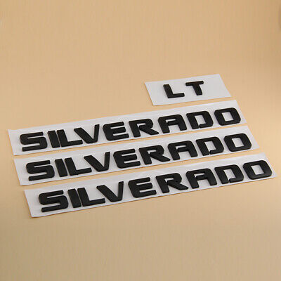 Black SILVERADO LT Lettering Emblem Badge Decal For 1500 2500HD Chevrolet