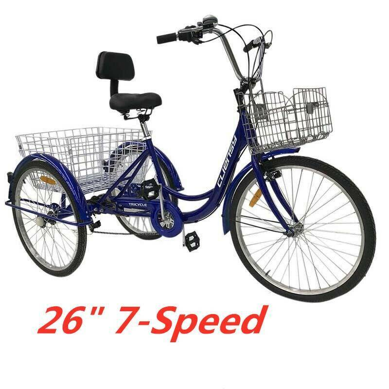 """6-Speed Shifter 24/"""" 3 Wheel Adult Tricycle Bicycle Trike Cruise Families Bike"""