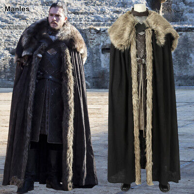 Game of Thrones 8 Jon Snow Costume Halloween Cosplay Men Outfits Suits Party](Snowmen Costume)