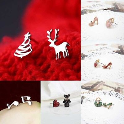 Christmas Fashion Women's Girl Silver Earrings Cute Ear Stud Jewelry Gifts ()
