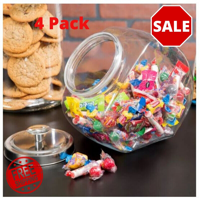 4 Pack Glass Penny Candy Coffee Beans Jar With Chrome Lid Ho