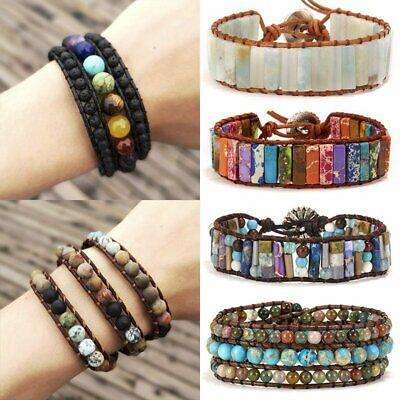 Chakra Natural Stone Tube Beads Bracelet Handmade Rope Wrap Bangle Jewelry Gifts](Tube Bracelet)