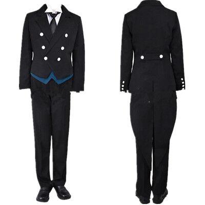 Kuroshitsuji Black Butler Sebastian Michaelis Cosplay Costume Kostüm Anzug Set (Kostüm Black Butler Sebastian)