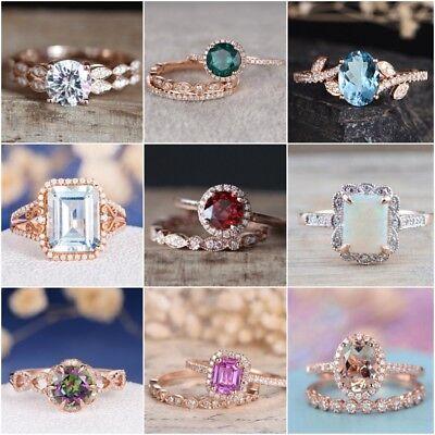 (Fashion 18K Rose Gold Plated Sapphire Ring Women Wedding Bridal Jewelry Sz 6-10)