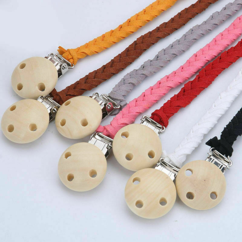 Handmade Braided leather Wood Baby Infant Dummy Pacifier Clip Chain Soother Toy