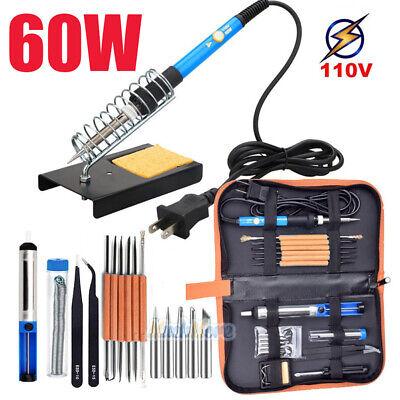 Electric Soldering Iron Gun Tool Kit 110v 60w Control Welding Station Tip Case