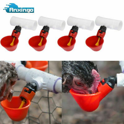 4x Water Drinking Cups Chicken Waterer Automatic Poultry Drinkers Pps Fittings