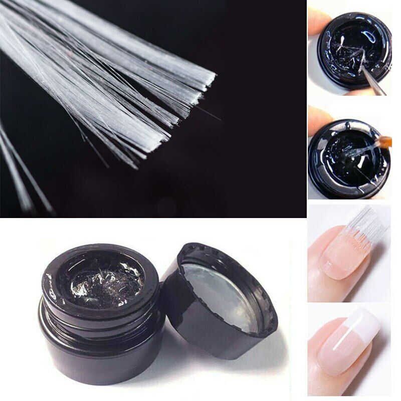 10pcs Silk Fiberglass Nail Art Acrylic Tips Extension + 5ml Fiber Base Coat Gel