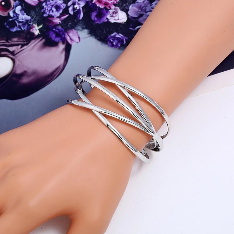 Damen Gold Silber Berit Armband Armreif Armspange flexibel stabil 3 cm Schmuck