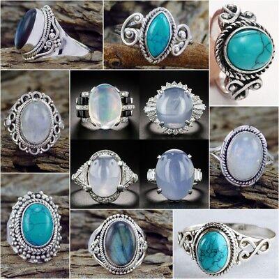 Turquoise Wedding (Fashion Women 925 Silver Turquoise Moonstone Ring Wedding Bridal Jewelry Sz)