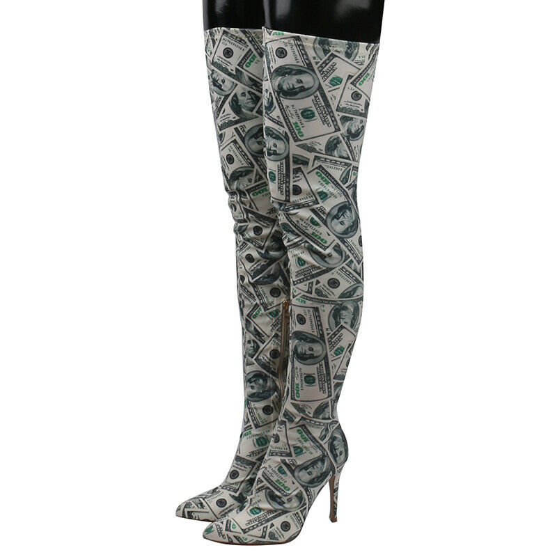 Stretch Slim Knee Women Details Toe Money Boots About Shoes High Floral Heel Over Pointed bygY7vf6