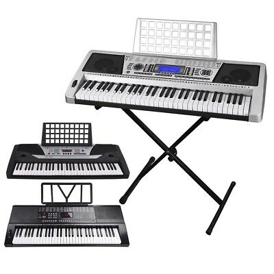 Music Electronic 61 Key Keyboard Electric Piano Organ w/ 3 Lesson Stand Type Opt
