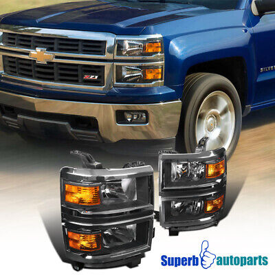 For 2014-2015 Chevy Silverado 1500 Black Turn Signal Lamps Headlights