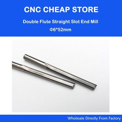 2pc Double Flute Straight Endmill Tool Cnc Router Bits Foam Mdf Pvc Wood 6 52mm