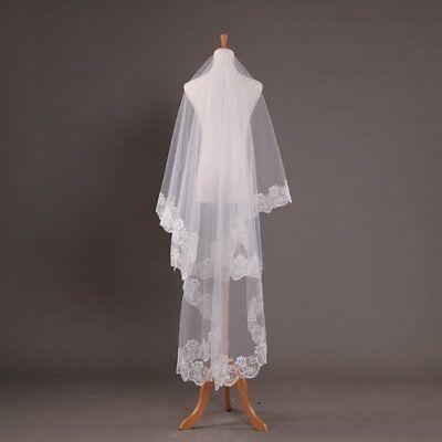 Vintage Veil (Ivory 1 Layer Lace Edge Vintage Cathedral Wedding Elegant Bridal Veil US)