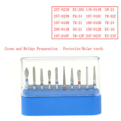 Dental Diamond Burs Fg-102 For Crownbridge Preparation Molar Teeth 10 Pcsset