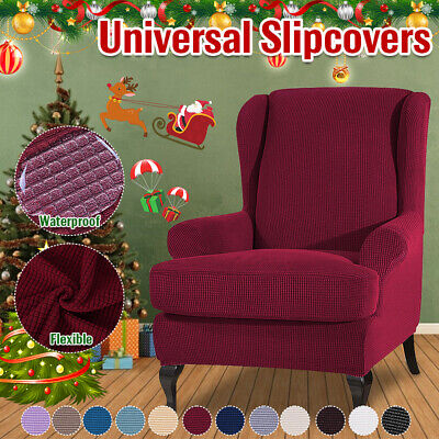 Elastic Armchair Wingback Wing Chair Slipcovers Home Furniture Protector Cover