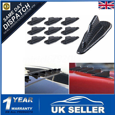 10Pcs EVO-Style PP Universal Vortex Generator Roof Shark Fins Spoiler Wing+Tape