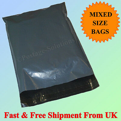 25 Plastic Grey Strong Mailing & Packaging Postal Bags Mixed Size 9