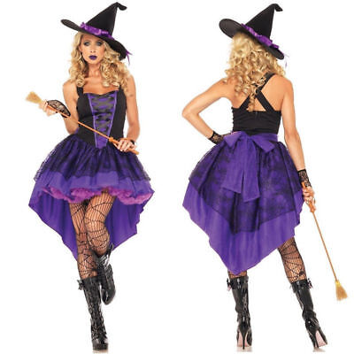 Women Fancy Dress Wicked Party Costume Adult Witch Halloween Plus Lady With Hat