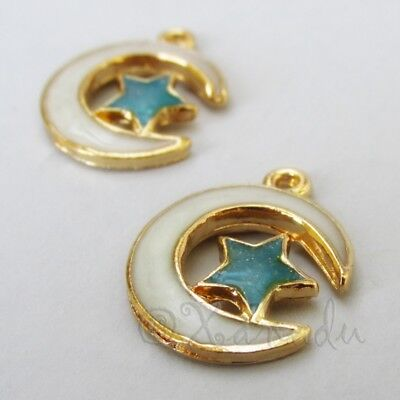 Moon And Star 20mm Gold Plated Blue Enamel Charm Pendants C4273 - 2, 5 Or 10PCs