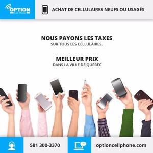 Nous achetons vos vieux cellulaires, fonctionnelles ou pas! Nous payons comptant, tout ça chez Option Cell Phone!