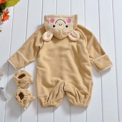 Baby Schlafanzug Neuheit Kostüm Süß Bär pink creme beige Jungen Mädchen