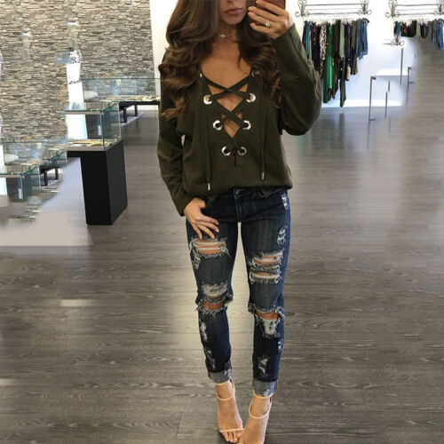 Women Casual Long Sleeve Shirts Lace-up Plunge V Neck Loose T-Shirt Blouse Tops