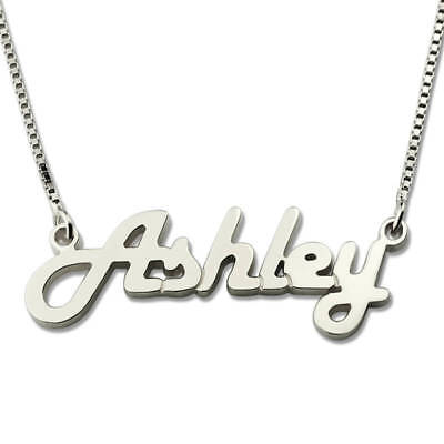 925 Sterling Silver Personalized Nameplate Women Necklace Pendant Birthday Gifts