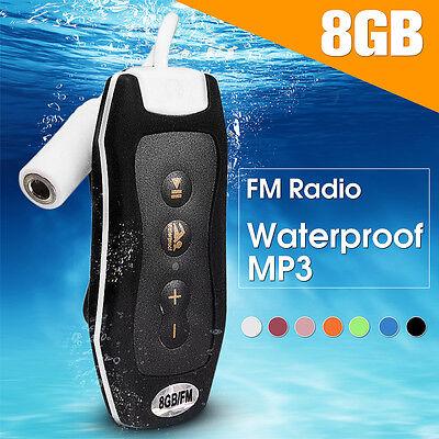 IPX8 Waterproof 8G MP3 Music Player FM Earphone Underwater Sport Swimming Diving