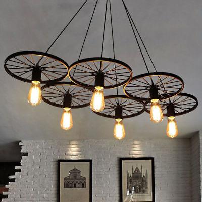 Chandelier Wagon Wheel Farmhouse Lighting Rustic Style Cabin Kitchen 6 -