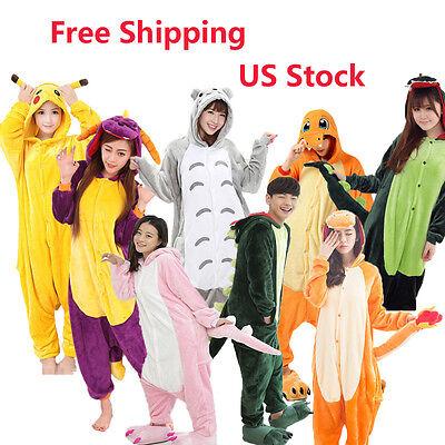 Hot Unisex Adult Pajamas Kigurumi Cosplay Costume Animal Onesi Sleepwear S Xl