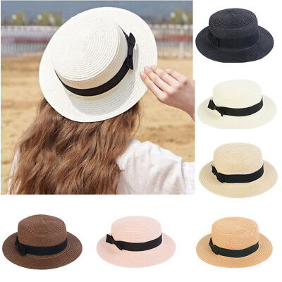 US Summer Women's Casual Bowknot Straw Flat Sun Hat Boater Beach Hat for Holiday - Women's Straw Beach Hats