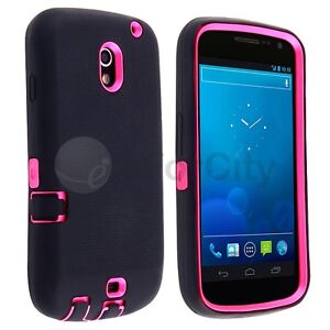For SAMSUNG GALAXY NEXUS CDMA I515 HYBRID Hard/Rubber Cover Case Black/Hot Pink