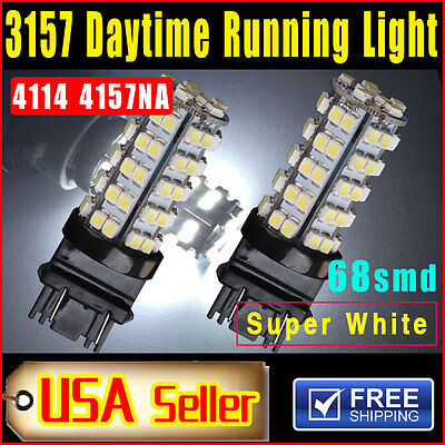 2PCS Xenon White 3157 68-SMD Car DRL Daytime Running LED Bulb Lights 4114 4157NA
