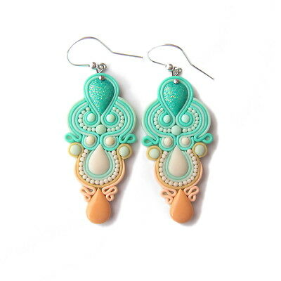 Chandelier Pastel Peach and Mint Green Prom Wedding Romantic Earrings Jewelry - Peach And Mint Wedding