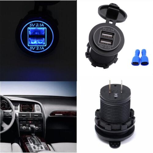 4.2A Dual USB Car Bota Motorcycle Mobile Waterproof Port Socket LED Charger Blue