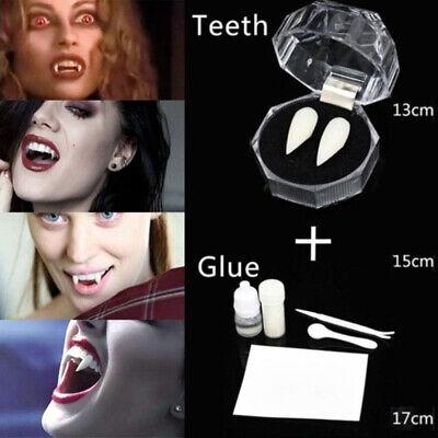 Vampire Teeth Caps (White Vampire Dracula Fangs Caps Teeth Fancy Dress With Putty Adhesive)