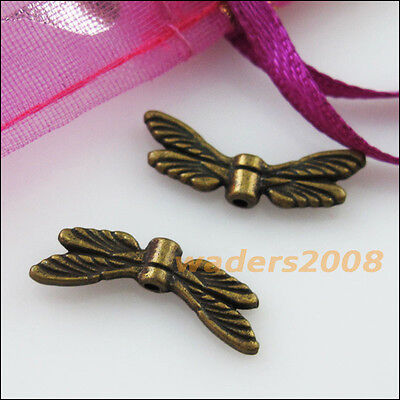 Dragonfly Wings Antique (15 New Charms Animal Dragonfly Wings Spacer Beads 7x20mm Antiqued)
