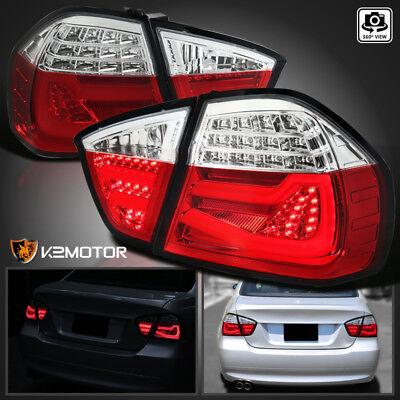 4dr Red Clear Led - Red/Clear 2005-2008 BMW E90 325i 328i 3-Series 4dr Sedan LED Brake Tail Lights