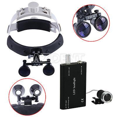 Dental 3.5x Headband Medical Binocular Loupes Magnifier Led Headlight Black