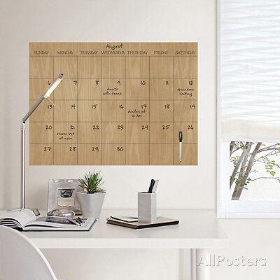 Faux Hardwood Dry Erase Calendar Wall Decal Sticker - 24x17.5